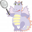 Cartoon dragon with magnifying glass  — Stock Vector