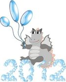 Cartoon dragon with balloons sitting on bubbles 2012 — Stock Vector