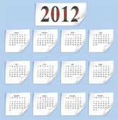 Vector calendar 2012 on white paper — Stock Vector