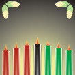 Seven kwanzaa candles in vector — 图库矢量图片