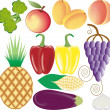 Fruits and vegetables vector set — Stock Vector