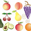 Fruits vector set — Stock Vector