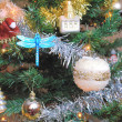Christmas tree decorated with toys — Stockfoto