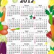 Vector calendar 2012 in colorful frame - Stock Vector