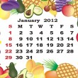 January - monthly calendar 2012 in colorful frame - Stock Vector