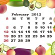 February - monthly calendar 2012 in colorful frame - Stock Vector