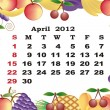 April - monthly calendar 2012 in colorful frame - Stock Vector