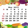 May - monthly calendar 2012 in colorful frame - Stock Vector