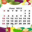 June - monthly calendar 2012 in colorful frame - Stock Vector