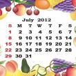 July - monthly calendar 2012 in colorful frame - Stock Vector