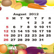 August - monthly calendar 2012 in colorful frame - Stock Vector