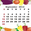 September - monthly calendar 2012 in colorful frame - Stock Vector