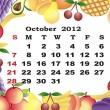 October - monthly calendar 2012 in colorful frame - Stock Vector