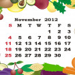 November - monthly calendar 2012 in colorful frame - Stock Vector