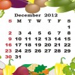 December - monthly calendar 2012 in colorful frame - Stock Vector