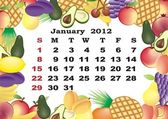 January - monthly calendar 2012 in colorful frame — Stock Vector