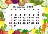 December - monthly calendar 2012 in colorful frame — Stock Vector