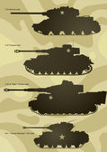 Silhouettes of the tanks — Stock Vector