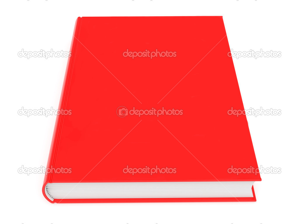 Closed blank red book rendered with soft shadows on white background — Stock Photo #7576960
