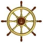 Golden nautical wheel isolated on white — Stock Photo