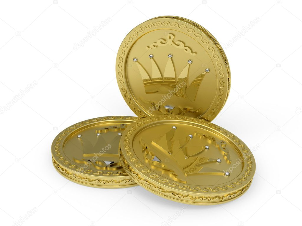 Composition of three golden coins with flowery patterns rendered with soft shadows on white background — Stock Photo #7804522