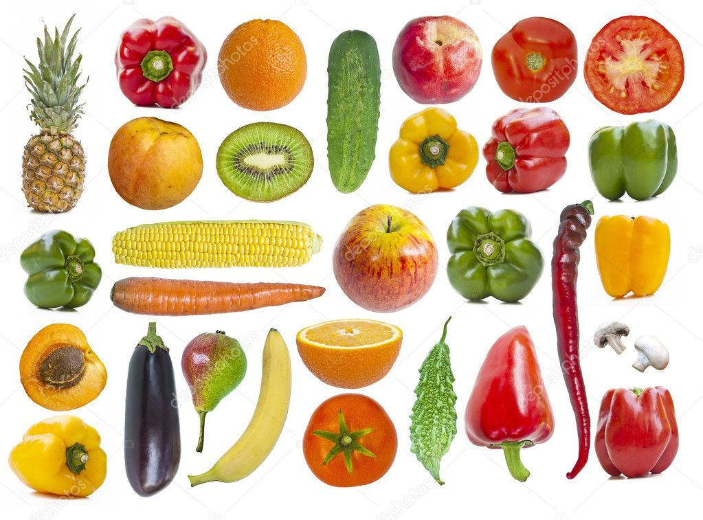 Set of fruits and vegetables isolated on white background — Stock Photo #7248345
