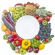 The group of vegetables and fruits with plate — Stock Photo