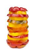Sliced paprika on white — Stock Photo