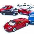 Six coloured models of car — Stock Photo