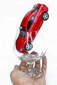 Red car in glass — Stock Photo