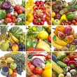 Multi picture of some group of fruits and vegetables — Stock Photo