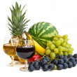 The group of fruits and two glasses of wine — Stock Photo