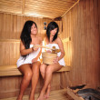 Young Women in sauna — Stock Photo