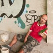 Drunk Man in urban scene. - Foto Stock