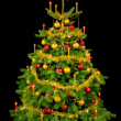 Gorgeous Christmas tree on black — Stockfoto