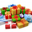 Happy pile of colorful gift boxes — Stock Photo