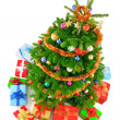 Top view of colorful Christmas tree — Stock Photo