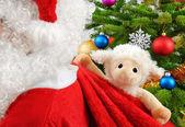 Sweet stuffed animal in Santa's bag — Stock Photo
