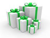 3d green gift box christmas — Stock Photo