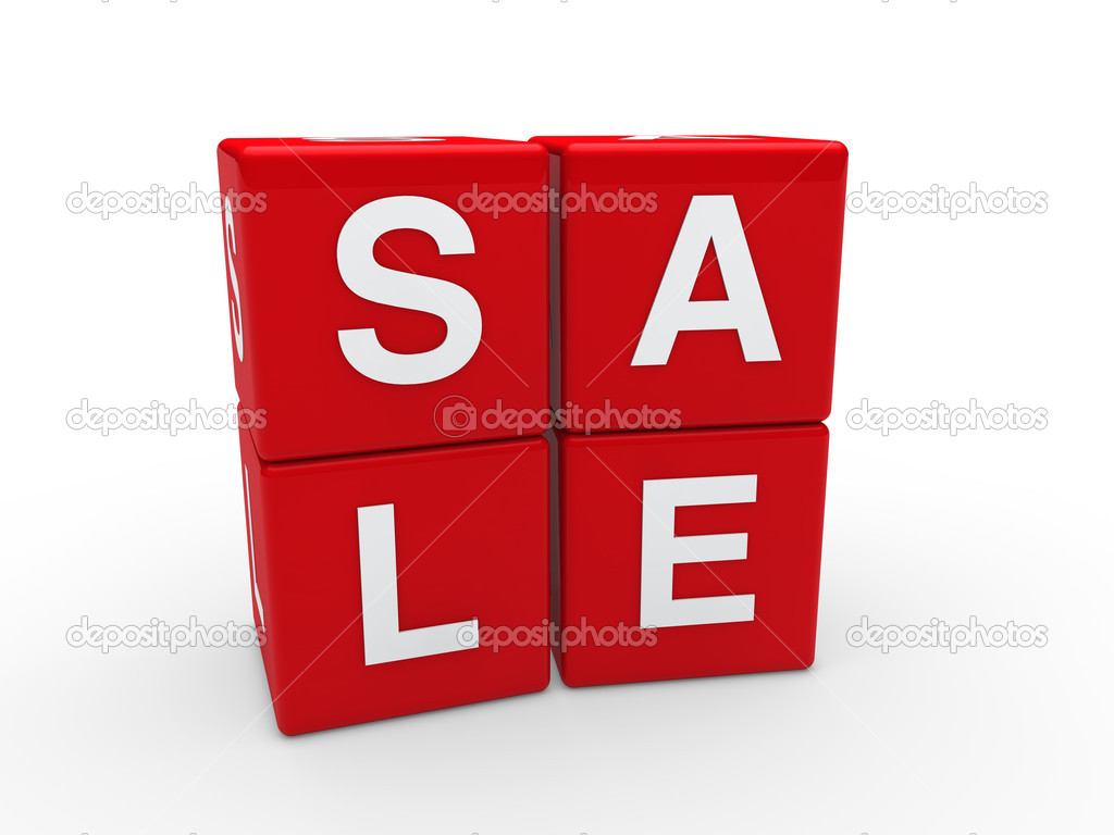 3d sale cube red discount word business — Stock Photo #6803785