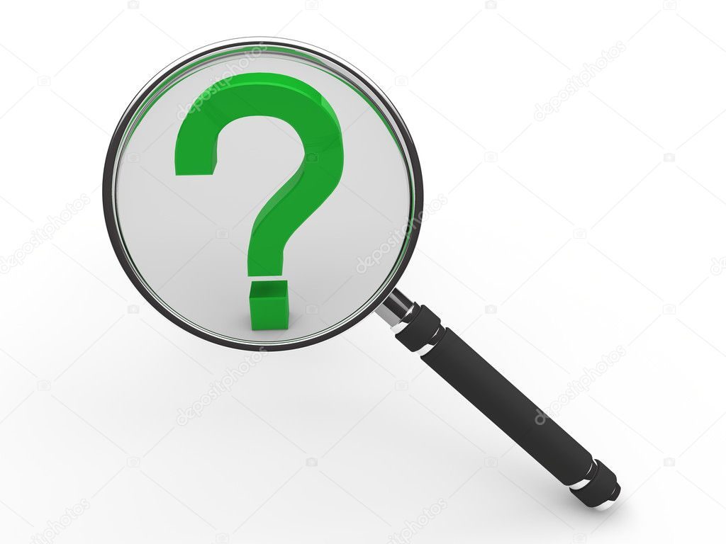 3d green guestion mark magnifying glass search  — Stock Photo #6803812