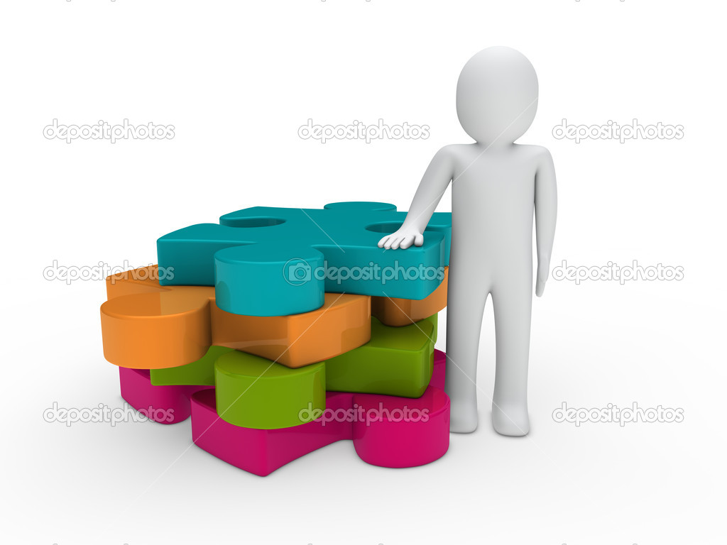 3d man puzzle pink green orange blue business — Stock Photo #6943481