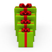 3d green gift small to big — Stock Photo