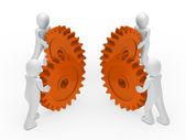 Teamwerk cirkel oranje versnelling — Stockfoto