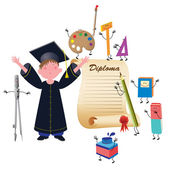 Graduate boy — Stock Vector