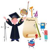Graduate boy — Stock Vector