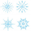 Vector set of blue snowflakes on a white background. - Stock Vector