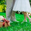 Stock Photo: Feet of the groom and the bride