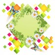 Stock Vector: Green background with butterflies