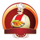 Chef with plate — Stock Vector